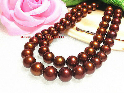 """Noble LONG AAAAA 35""""11-12mm REAL south sea chocolate color pearl necklace 14K"""