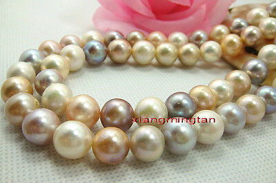 """AAAAA 35""""11-12mm REAL south sea WHITE pink PURPLE Multicolor pearl necklace 14K"""