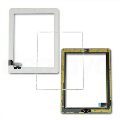 For iPad 2 White Replacement Screen Touch Digitizer+Mid Frame Bezel&Home Button