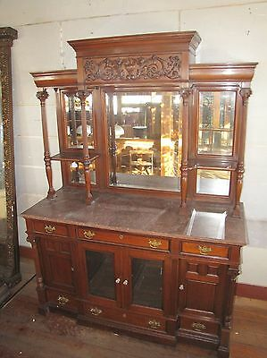 GREAT VICTORIAN CARVED WALNUT MARBLE TOP SIDEBOARD W BEVELED MIRRORS
