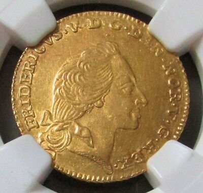1760 Vh W Gold Denmark  12 Mark, Ducat Courant Coin Ngc About Uncirculated 58