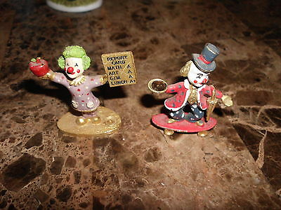 (2) COLLECTIBLE 1987 SPOONIQUES PEWTER CLOWN FIGURINES