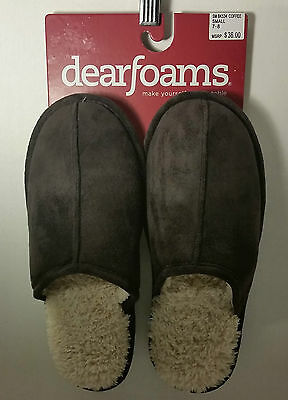 NWT DEARFOAM MEN'S SLIPPERS SM BK534 COFFEE SIZE SMALL 7-8 RESISTANT SOLE NEW