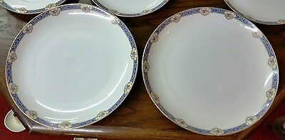 """Antique KPM Pair of 12"""" Chargers GERMANY Pattern 27058 Blue band 1905-1920"""