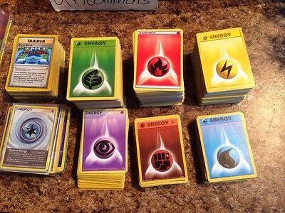 Pokemon card lot of 110 energy cards NOW WITH 10 TRAINERS + Special Energy!!!
