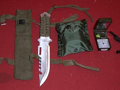 SURVIVAL GEAR KNIFE COMPASS LED LITE FISHING HUNTING HIKING CAMPING EDC MILITARY