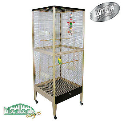 Vogelvoliere Happy Home 66 B - Choco/Vanilla in Holzoptik von Montana Cages