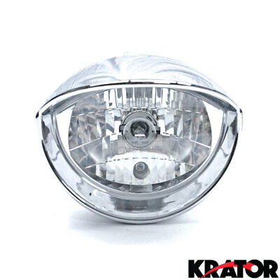 Motorcycle Universal Custom Chrome Headlight low/high beam with mounting Bracket