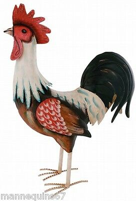 Grande Figurine Metal Coq Decoration Jardin Maison Cuisine Design