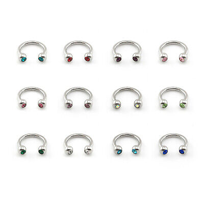 Horseshoe Bar Circular Barbell With CRYSTAL GEM Balls Lip Nose Septum Ring