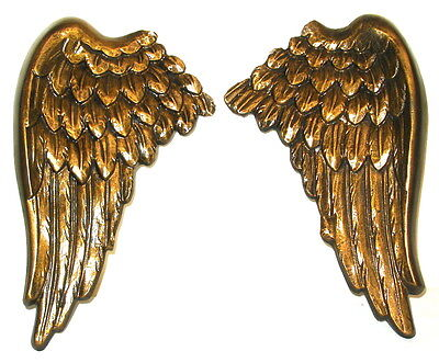 Pair of Large Antique Bronze Angel Cherub Wings Wall Mounted Hangings Plaque