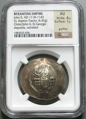 1118-1143 Ad Electrum Aspron Trachy Byzantine Empire John Ii Coin Ngc About Unc