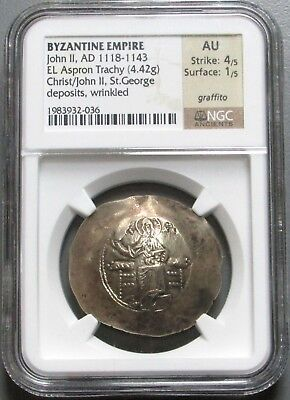 1118-1143 Ad Gold/Electrum Aspron Byzantine Empire John Ii  Ngc About Unc 4/1