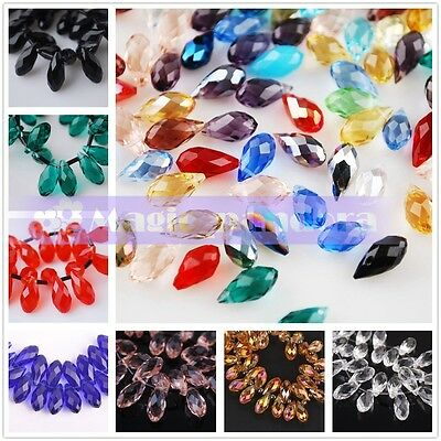 10pcs 8mm Teardrop Pendant Top Drilled Faceted Crystal Glass Spacer Loose Beads