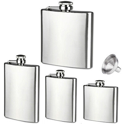 New 6 8 10 18oz Liquor Stainless Steel Pocket Hip Flasks Screw Cap with Funnel