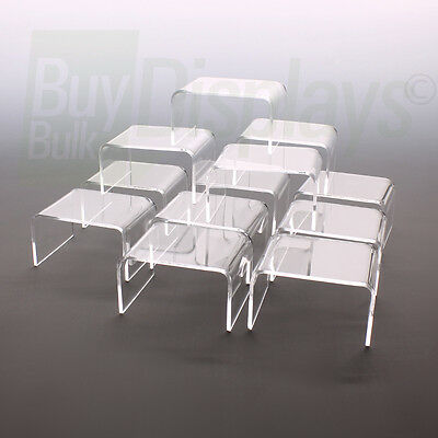 Mini Acrylic Display Risers, 2-1/4 x 3 x 1-1/2 High, 12 Lot, Made in USA