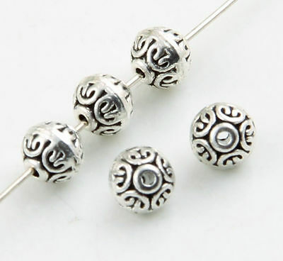 50pcs Tibetan Silver Rondelle Flat round Spacer Beads 7x6.5mm (Lead-free)