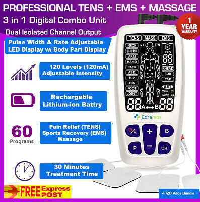 Slim TENS Machine EMS 3 in 1 Combo Unit Pain Relief Massager w/Extra Pad Bundles