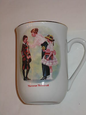 Norman Rockwell mug first day of school Great condition Authentic Japan gold acc