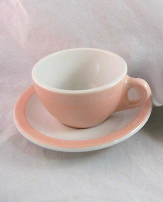 Vintage Pink & White Shenango China Restaurant Ware Coffee Mug & Saucer