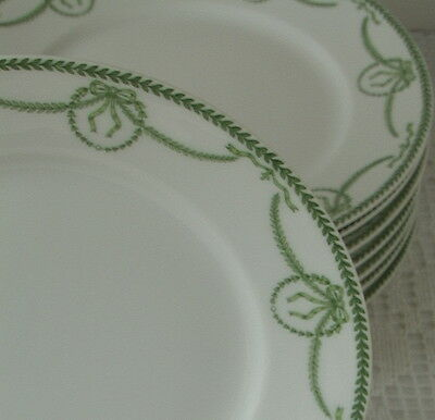 LIMOGES FRANCE Guerin W G & Co Green Swag Wreath 8 Dessert Plates