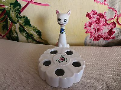 VINTAGE antique ITALY Italian CAT w FLOWERS *LIPSTICK HOLDER* old VERY NICE!