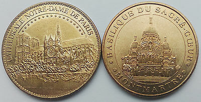 2 French Medals, Notre Dame de Paris and Sacred Heart Basilica, France