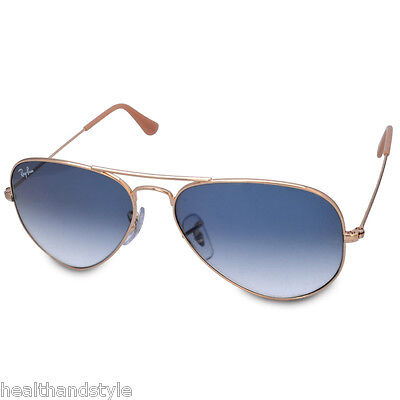 Ray Ban RB3025 001/3F Aviator Sunglasses Gold/Light Blue Gradient Sizes 55 58 62