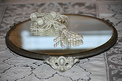 Vintage Art Nouveau Beveled Mirrored Round Vanity Plateau Vanity Tray 10 inches