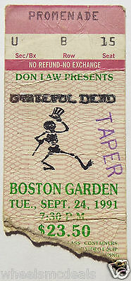 GRATEFUL DEAD TICKET STUB JERRY GARCIA 1991 Boston Gardens roadie stub