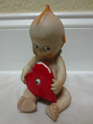 VINTAGE CERAMIC KEWPIE WITH HEART FIGURINE BLUE WINGS  MARKED NC