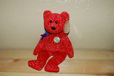 DECADE the BEAR  - Ty Beanie Baby  - RED - 10 Year Anniversary - MWMT