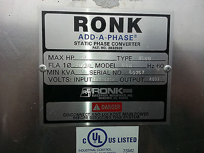 RONK Add-A-Phase Static 3 ph Power CONVERTER 10hp+
