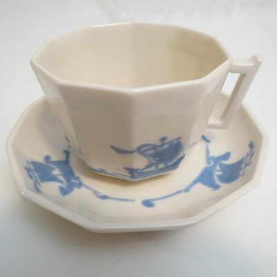 Rookwood Pottery ROO1 Blue Ship Cup & Saucer M-9 & M-10  -Pristine