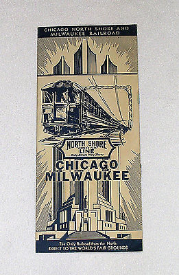 THE NORTH SHORE RAILROAD LINE 1934 TIMETABLE TO THE WORLD'S FAIR IN CHICAGO