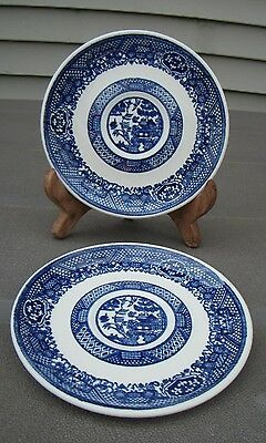 """Vintage blue and white unmarked 2 saucers 6"""" diameter"""
