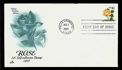 FIRST DAY COVER Yellow Rose 32c Coil Stamp #3054 ARTCRAFT U/A FDC 1997