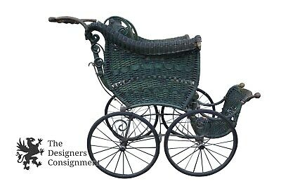 19th Century Wakefield Antique Wicker Bentwood Baby Carriage Stroller Buggy