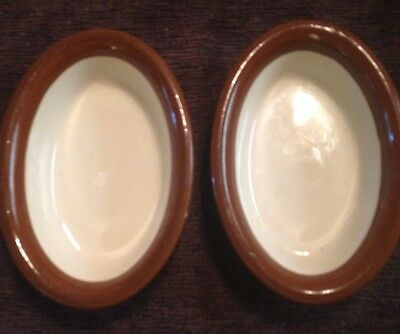 *RARE*VTG* HALL POTTERY* Baking Dish Two Oval Brown & White #1050 Casserole USA