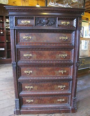 VICTORIAN EASTLAKE AESTHETIC MOVEMENT STYLE WALNUT LOCKSIDE CHEST