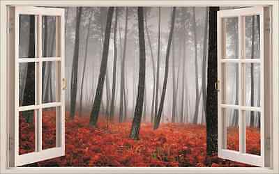 Red Forest 3D Window View Removable Wall Sticker Art Mural Wall Decal Home Decor