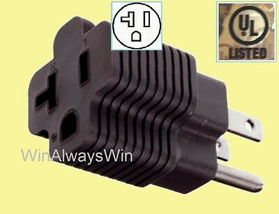 20 amp to 15amp Power Plug Adapter 20A Straight T-blade female, 15A 3 prong male