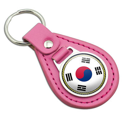 Flag of South Korea Pink Leather Metal Keychain Key Ring
