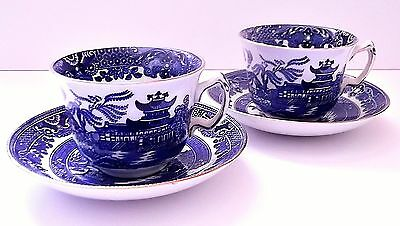 TWO teacup sets! Burleigh Ware Willow Pattern Burslem England Blue and White!!!