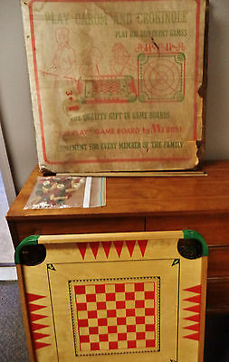 Vintage Carrom board game in original box pool checkers chess