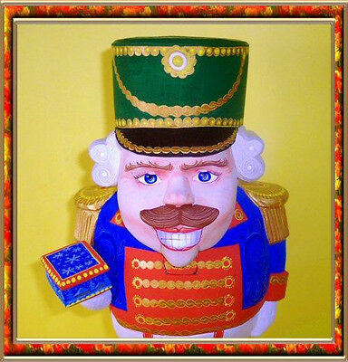 RUSSIAN WOODEN Hand Carved & Painted Nutcracker signed