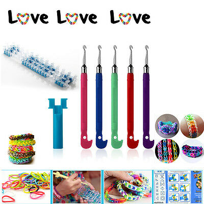 Rainbow Loom Bands Webrahmen +Metallhaken Hook+ 600 Bands Gummibänder Latexfrei
