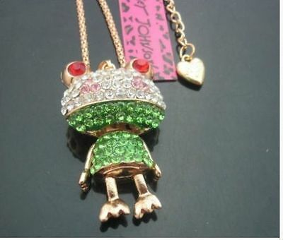 New Betsey Johnson Pretty cute and colorful frog pendant crystal necklace N291