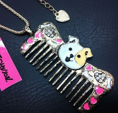 New Betsey Johnson Beautiful combs pendant crystal necklace N218