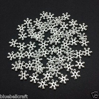 300 8mm BRIGHT SILVER SNOWFLAKE SPACER BEADS - JEWELLERY - CRAFT - EMBELLISHMENT